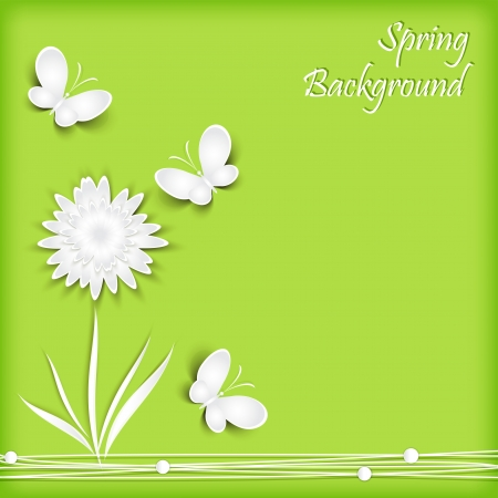 Background with paper flowers and  butterfly. Vector.