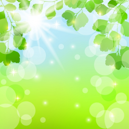 Abstract spring background with leaves. EPS10. Vector illustration. Vector