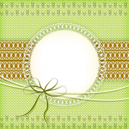 Knitting green background  Vector  Vector