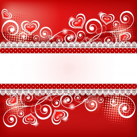 scroll border: Valentine s background with heart   Vector illustration
