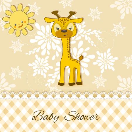 giraffe frame: Baby Shower card with giraffe. Vector. Illustration