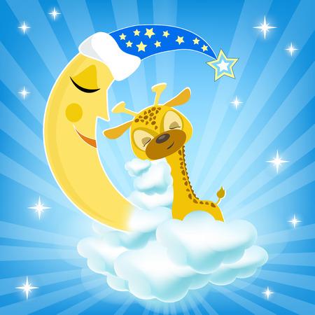 Bab giraffe sleeping on the cloud. Vector illustration. Illusztráció