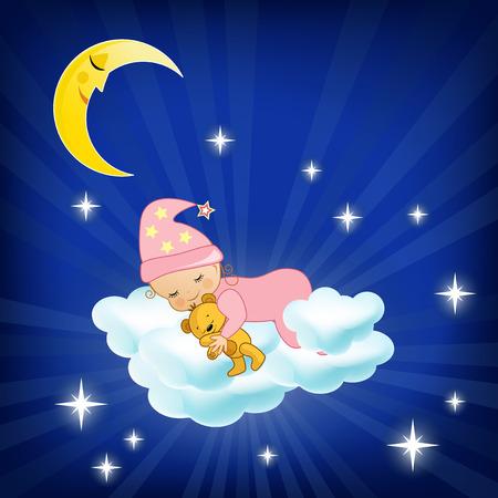 luna caricatura: Bebé que duerme en la nube ilustración vectorial Vectores