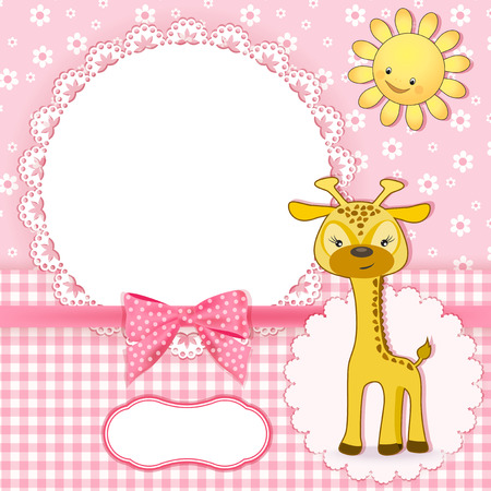 animal border: Baby background with frame  Vector illustration