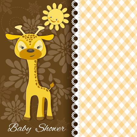 giraffe frame: Baby background  Vector illustration
