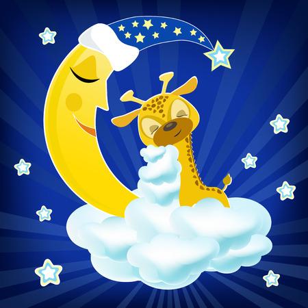 Bab giraffe sleeping on the cloud  Vector illustration