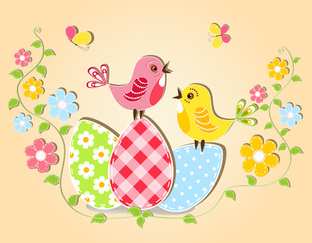 gaily: Floral Easter card  Vector illustration