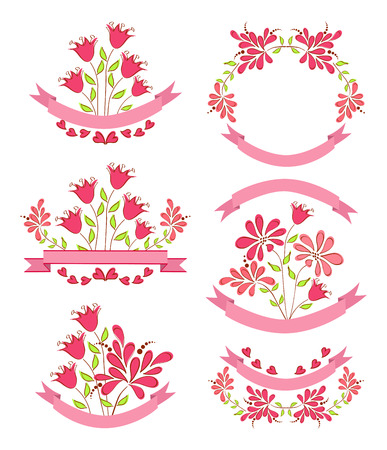 Floral design elements with ribbon  Vector  Vector