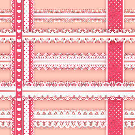 Collection design elements for scrapbook  Borders  Vector illustration  Vector