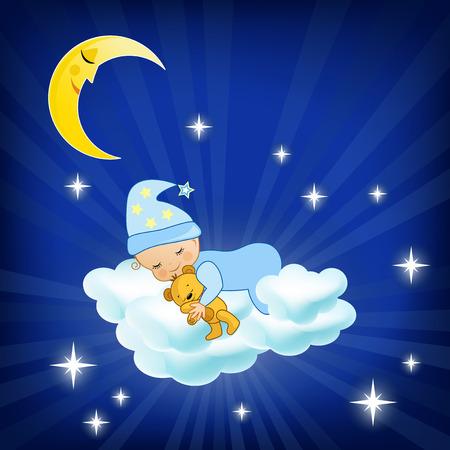 luna caricatura: Beb� que duerme en la nube ilustraci�n vectorial Vectores