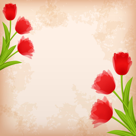 Greeting сard with tulip  Vector illustration  Vector
