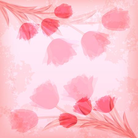 ard: Greeting сard with tulip  Vector illustration