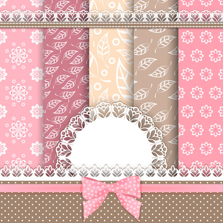 Collection floral pattern for scrapbook. Vector illustration. Vector