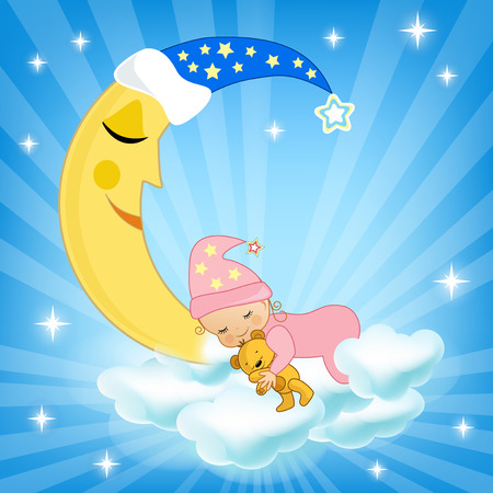 sleeping child: Baby sleeping on the cloud. Vector illustration.