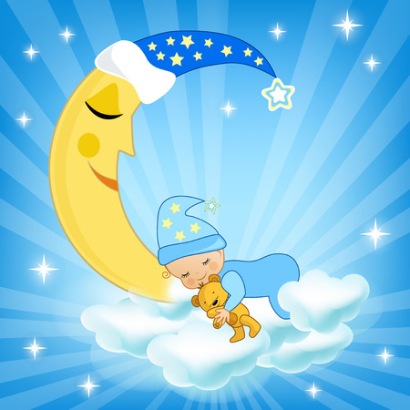 Baby sleeping on the cloud. Vector illustration.