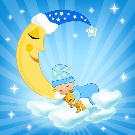 Baby sleeping on the cloud. Vector illustration.