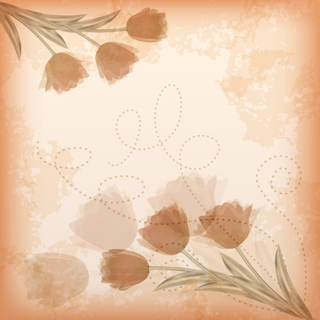 �ard: Greeting сard with tulip. Vector illustration.