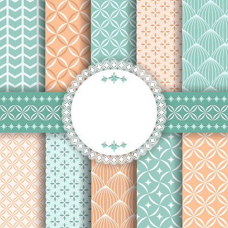 checked: Collection floral pattern for scrapbook  Vector illustration