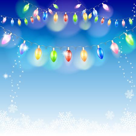 クリスマス ライトの花輪。ベクトル イラスト。