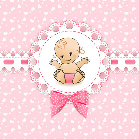 lace edges: Baby background with frame. Vector illustration.