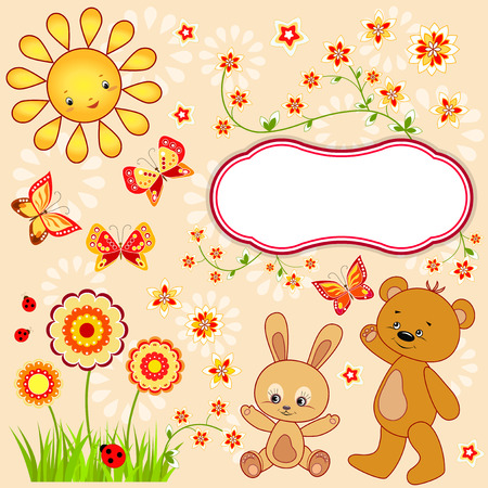 Kid`s background with butterfly. Vector illustration.
