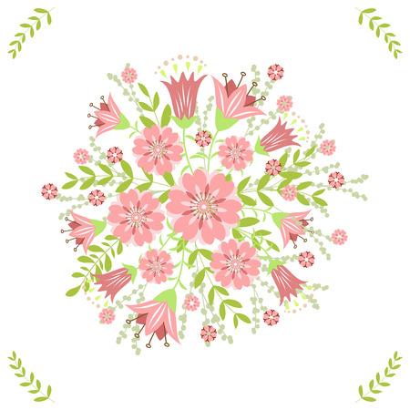 Greeting card with flowers. Vector Vector
