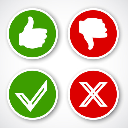 unlike: Yes, No, Thumbs up and down icons Like and unlike symbol. Vector
