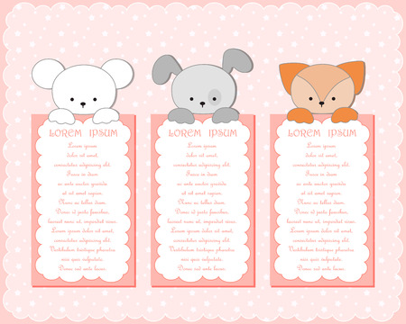 Baby animal banners collection. Vector illustration. Vector