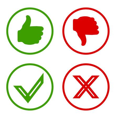 Ja, Nee, duimen omhoog en omlaag iconen als en in tegenstelling tot het symbool. Vector Stock Illustratie