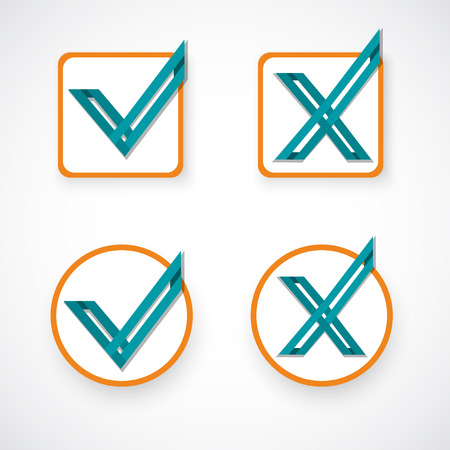 yes no: Yes, No, Like and unlike symbol. Vector Illustration