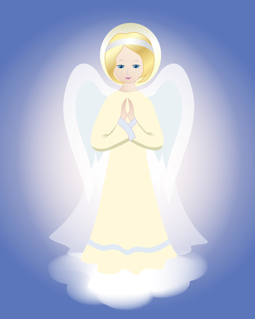 Angel on the cloud. Vector illustration. Çizim