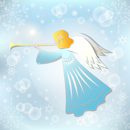 hair feathers: Angel and Christmas star. Vector illustration. EPS10.