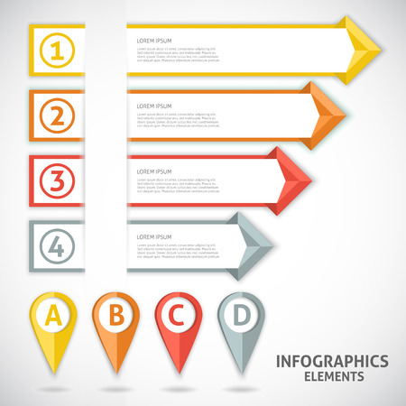 arrows vector: Collection infographics elements. Colorful arrows. Vector illustration.