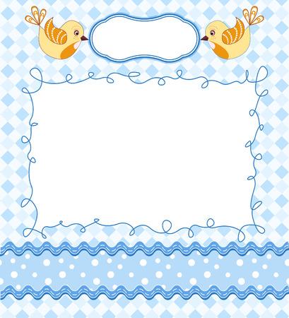 Tarjeta linda del bebé con el marco. Ilustración del vector.