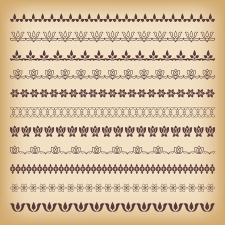 lace filigree: Collection borders for decor. Vector illustration.
