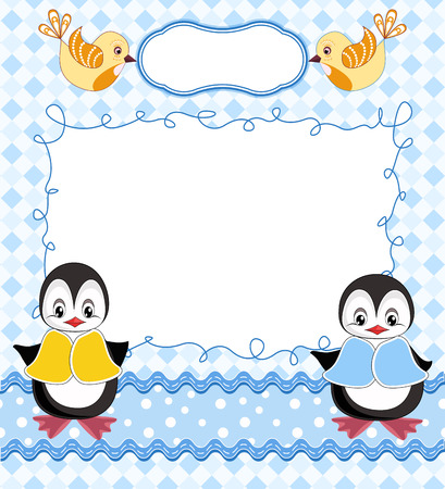 diaper baby: Cute baby card with frame. Vector illustration. Illustration