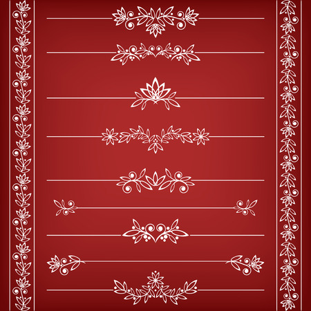 embellishments: Floral borders collection. Vector illustration.