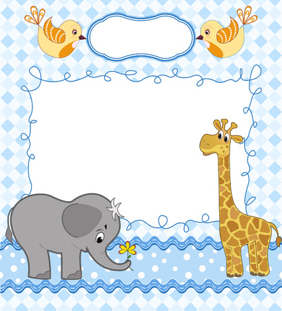 Cute baby card with frame. Vector illustration. Vettoriali