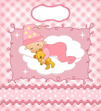 Cute baby card with frame. Vector illustration. Vector