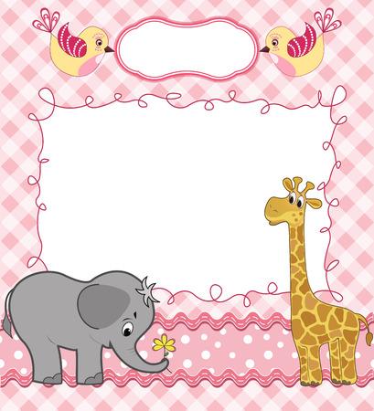 giraffe frame: Cute baby card with frame. Vector illustration. Illustration