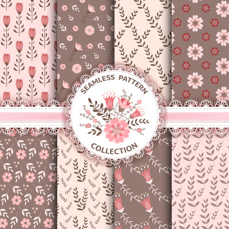 lacy: Collection floral seamles patterns. Vector illustration.