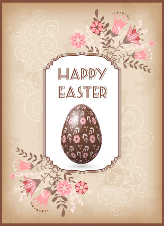 april clipart: Greeting Easter card with egg and flowers. Vector. Illustration