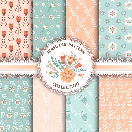 Collection floral seamless patterns Vector