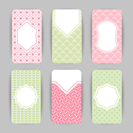 Collection of card templates with geometric ornament Illustration