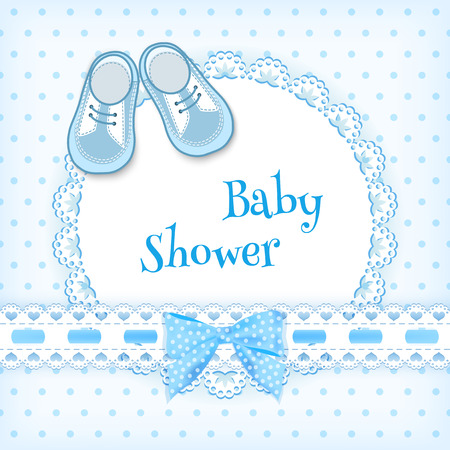 baby shoes: Baby shower card. Vector illustration.