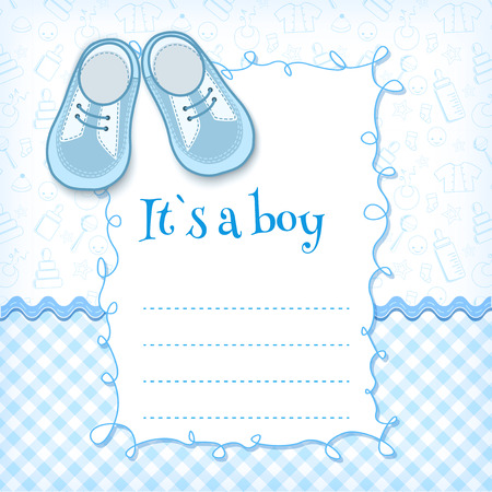 welcome baby: Baby shower card. Vector illustration.