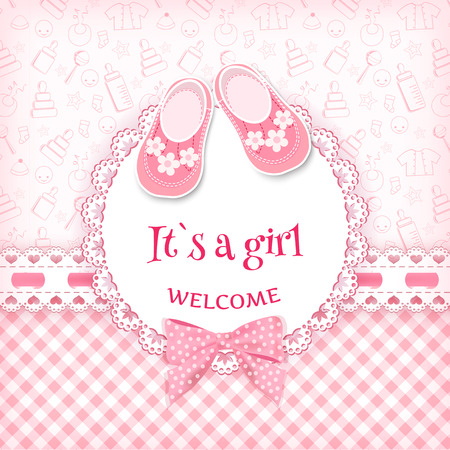 baby girl: Baby shower card. Vector illustration.