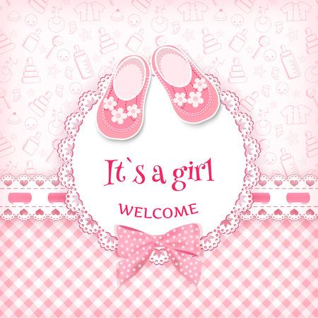 bebês: Cartão do chuveiro de bebê. Ilustração do vetor.