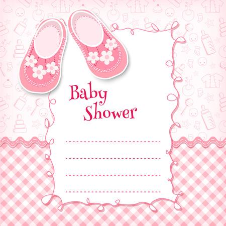 bebes ni�as: Tarjeta de la ducha del beb�. Ilustraci�n del vector. Vectores