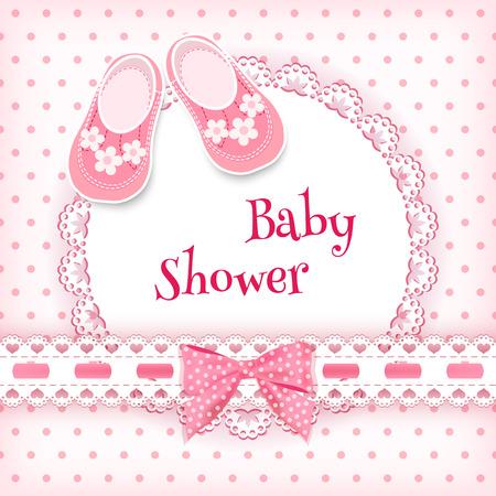 baby s: Baby douche-kaart. Vector illustratie.